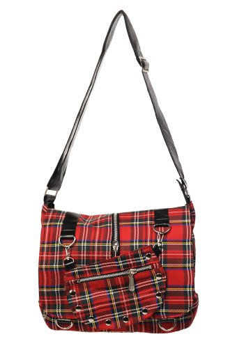 Banned Scozzese Borsa a Tracolla - Rosso Scozzese, Red Tartan/One Size