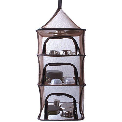 CFtrum 4-Schicht Faltbare Hanging Trocknen Net Mesh Camping Organizer Mesh Trockner Lagerung mit Reißverschlüssen für Picknick zu Hause Camping, BBQ Geschirr, Geschirr, Lebensmittel, Gemüse, Obst -