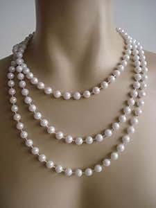 Foxxeo 10137 | 20er Jahre Perlenkette 180cm für Charleston Kostüm Perlen Kette 20iger
