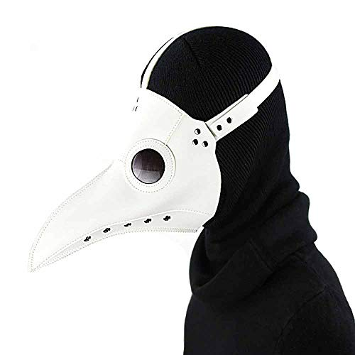 YSZDM Pest Doktor Maske Halloween Requisiten Kostüm Steampunk Gothic Cosplay Retro Leder Vogel Maske Cos Party Requisiten,Weiß (Weiße Pest Doktor Kostüm)