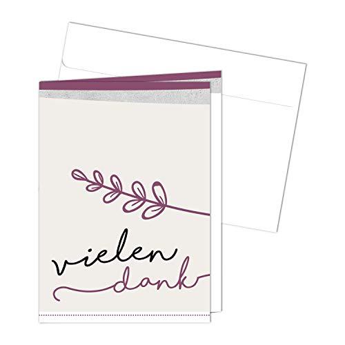 20 Danksagungskarten mit Umschlägen zur Konfirmation I DIN A6 I Dankeskarten mit Brief-Umschlag im Set I für Mädchen I Vielen Dank I dv_474