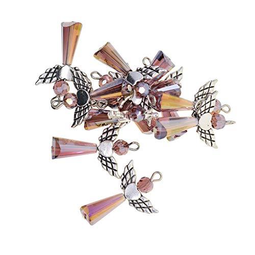 lenengel Schutzengel Engel Flügel Fee Charme Anhänger Acryl Perlen Charms für DIY Basteln Handwerk Verzierung - Lila, wie beschrieben ()