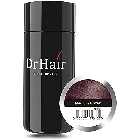 Dr Hair Coprente per Nascondere la Perdita dei Capelli, i Capelli Sottili e Radi, le Zone Senza Capelli con Fibre alla Cheratina Colorate e Naturali – Per Donne e Uomini, 30g Marrone Chiaro