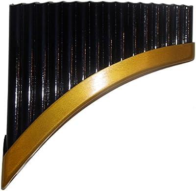 Luxurios negro flauta de pan (bambú, Antara, 15tubos Artisan hecha a mano en Perú–Funda incluido