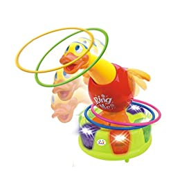 Huile Toys Happy Interesting Little Duck Ring Toss Interactive Battery Operated Toys For Kids Children Ages 18M+