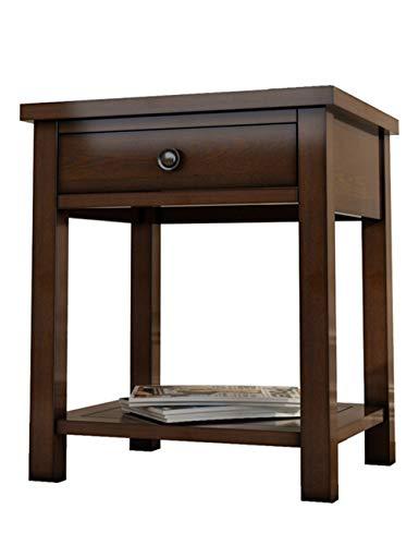 Coin Salon/Table de téléphone/Petite Table carrée, côté carré en Bois Massif Rustique, Convient à la Chambre à Coucher, au Salon, au Bureau