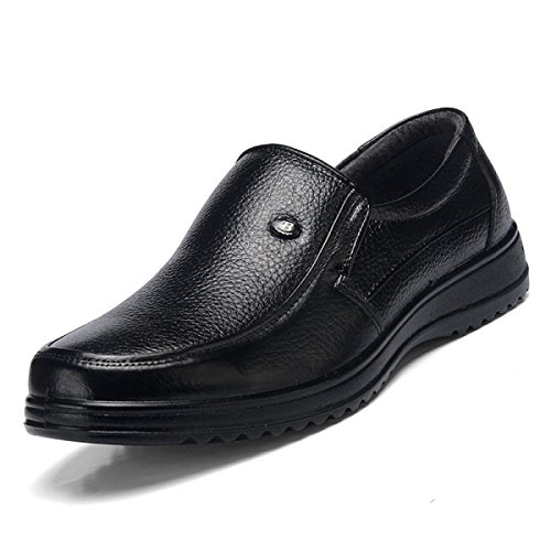 GRRONG Herren-Leder-Schuhe Mittelalter Echtes Leder Freizeit Geschäft Black