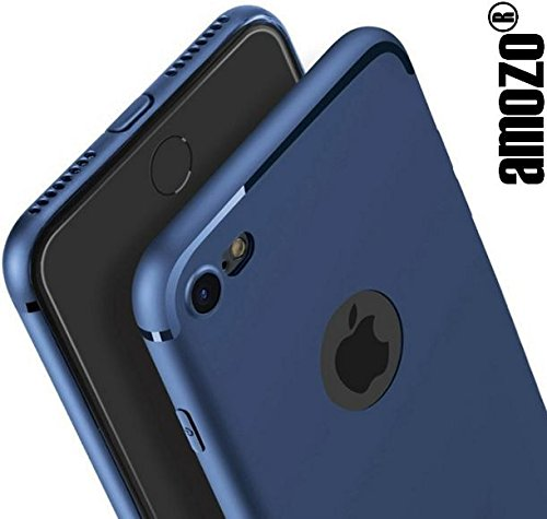 Amozo® Soft Silicone with Anti Dust Plugs Shockproof Slim Back Cover Case For Apple iPhone 7 ,Dark Blue