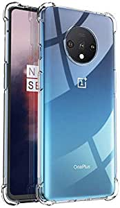 NISHTECH Flexible Shockproof Crystal Clear TPU Soft Back Cover Case with Cushioned Edges for Ultimate Protection for OnePlus 7T (2019) (Transparent)