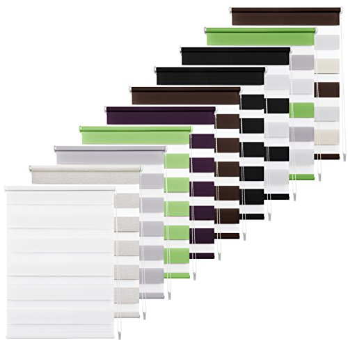 Double Store Enrouleur Jour Nuit Blanc 40 x 150 CM - Facile à Fixer sans Perçage ni Forage avec Clips