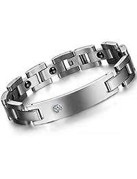 39adbd3eadb Oidea - Bracelet pour homme en acier inoxydable poli avec aimant - Motif  motard - Argenté