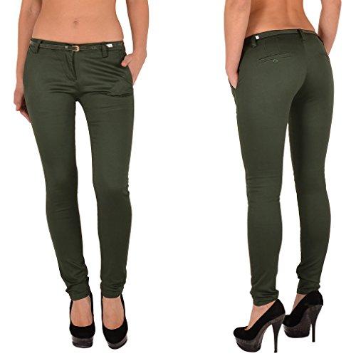 by-tex Pantalon femme Skinny pour femmes pantalon en plusieurs couleurs J187 J187-vert
