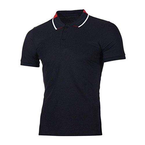 Polo Sport T-Shirt Uni Homme S à 2XL,Covermason Homme Polo Shirts Manche Courte Casual T-Shirt Mode Mince Fit Casual Chemise Tee Tops (Noir, S)