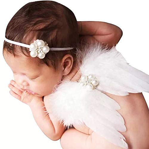 thematys Engel Set für Babys und Neugeborene in 4 Stirnband und Flügel - perfekt für Fotos und Photoshootings (Weiß)