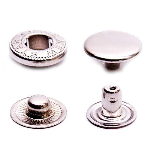 GETMORE Parts Druckknöpfe S-Feder, Stahl, 100 Stück - Silber vernickelt, 12,5 mm -