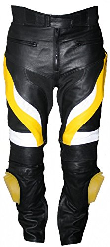Herren Motorradhose Motorrad Biker Racing Lederhose Gelb/Schwarz, Größe:48