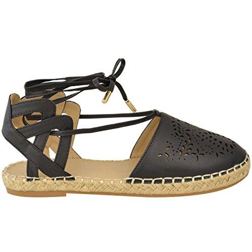Femmes Lacet Plat Découpe Espadrilles Sandales Vacances Été Chaussures Pointure Simili-cuir Noir