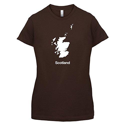 Scotland / Schottland Silhouette - Damen T-Shirt - 14 Farben Dunkles Schokobraun