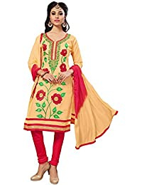 Nivah Fashion Women's Ltest Cotton Embroidery Work With Stoning Salwar Suit (Free Size_Semi-Stich) G15(Beige)