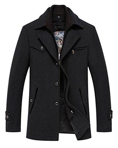 Hikenn Herrn Winter Jacken Casual Verdicken Wollmantel Warm herren Kleidung (L, Dunkelgrau)