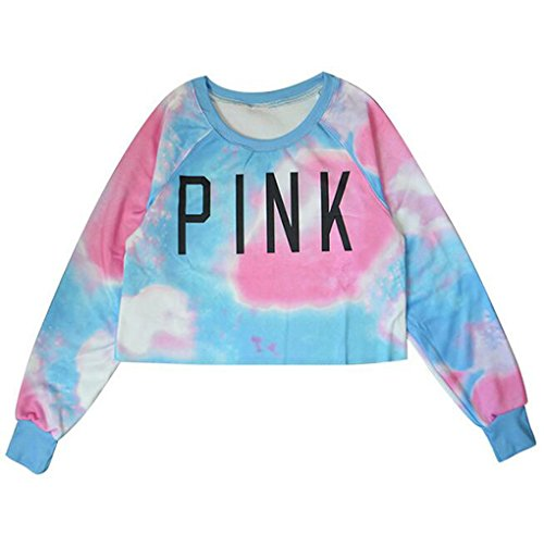 Women's Colorful Tie Dye and Pink Letters Print Midriff Crop Sweatshirt (Blue Baby Tie-dye)