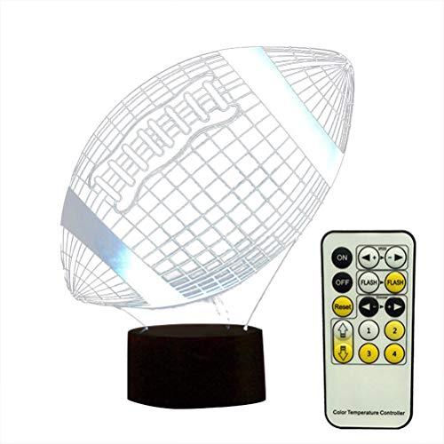 YeahiBaby 3D-Lampe, visuelles Lichteffekt, Touch-Schalter und Fernbedienung, Farbwechsel bei Nachtlicht (Rugby Ball) - Bath Home Rugby