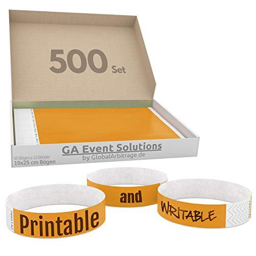 GA Event Solutions Braccialetti di identificazione Tyvek, Arancione, 500 pezzi