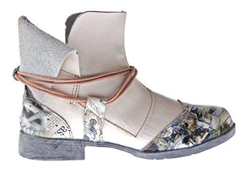 Damen Comfort Leder Stiefeletten TMA 5161 Boots Schwarz Grün Braun Weiß Rot Knöchel Schuhe Stiefel Weiß Creme
