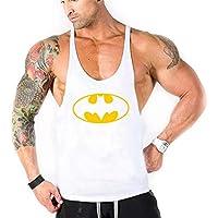 WICHENG Ropa de la Marca Batman gimnasios Stringer, Camisetas sin Mangas de los Hombres de Culturismo Aptitud de los Hombres del Chaleco de Ropa Deportiva y Back Singlets Undershirt