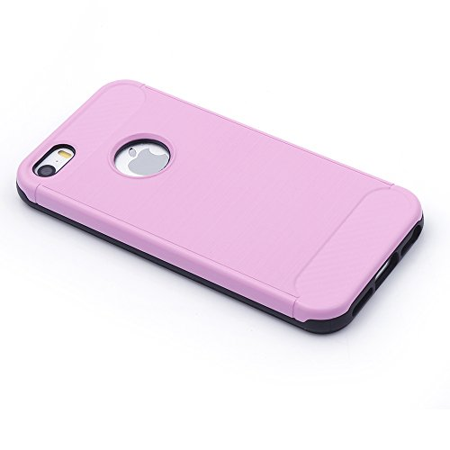 iProtect TPU Schutzhülle Apple iPhone 5, 5s, SE Carbon Case brushed schwarz rosa