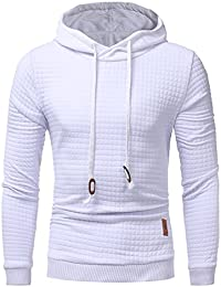 Zehui Men Casual Hoodies Solid Color Hooded Sweatshirt Long Sleeve Tight Design Pullover