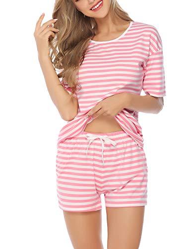 Rosa Baumwoll-shorty-pyjama (Aibrou Damen Pyjama Schlafanzug Baumwolle Kurz Streifen Nachtwäsche Nachthemd Hausanzug Set Kurzarm Rundhals-Ausschnitt für Sommer Pink XL)
