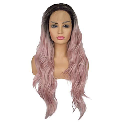 Solike Femmes Perruques Mode Résistant à la Chaleur Synthétique Dégradé Noir Rose Cheveux Longues Bouclés Perruques Cheveux Ondulés Cheveux Perruque 24 Pouces