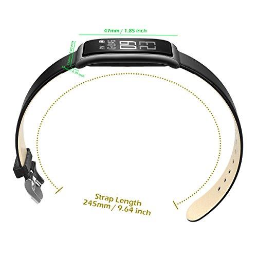 Fitness Tracker [Elegantes Lederarmband], CHEREEKI Herzfrequenzmonitor Smart Armband Fitness Armbanduhr mit Aktivitätstracker / Schrittzähler / Schlafüberwachung / Push Anruf-Benachrichtigung - Bild 5