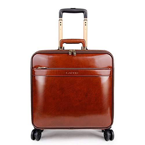 HWYP Gepäck 16 Zoll Koffer Leder Trolleykoffer Universal Rad Leder Koffer