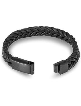 Chomay Herren Mikrofaser Armband Geflochtet Armreif IP BLACK 316L Magnetverschluss 19 20 21 22 23cm 12mm