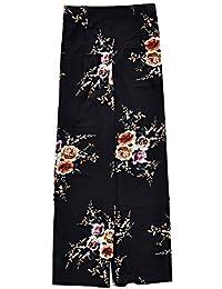 Minetom Mujer Verano Otoño Casual Trousers Sueltos Pantalón Ancho Culottes Holgados Suave Pantalones de Gasa Floral