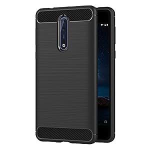 watch 1499e cf16d AICEK Nokia 8 Case, Black Silicone Cover for Nokia 8 Bumper Covers Nokia 8  Black Carbon Fiber Case (5.3 inch)
