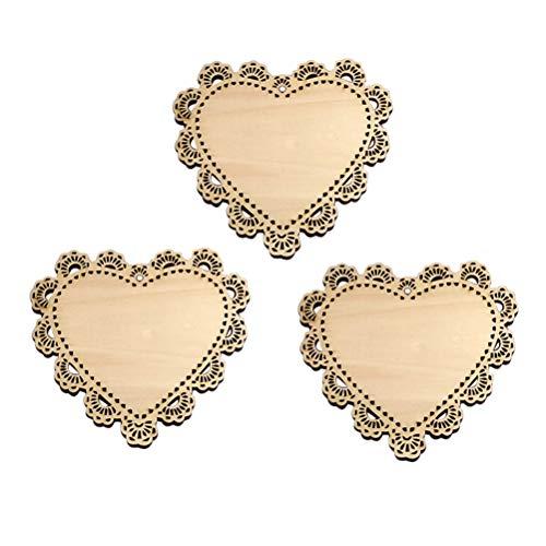 Healifty Holz Untersetzer Herz Form Holz Herz Wärmedämmung Tisch Untersetzer Tischdekoration Hochzeit Deko 3 Stück
