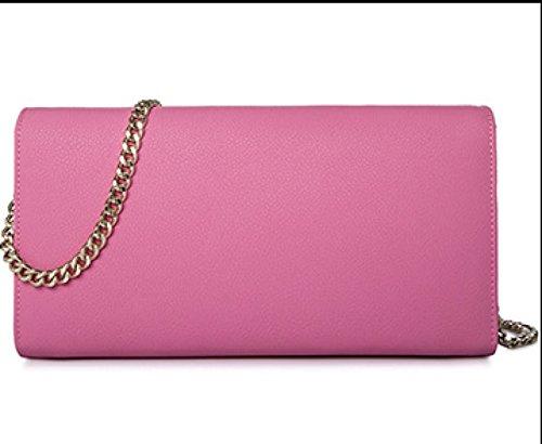 Frauen-echtes Leder-Beutel Kleine / Mikro-Kreuz-Körper-Schulter-Beutel-Handtaschen-Kupplungskette (7 Farben) Pink