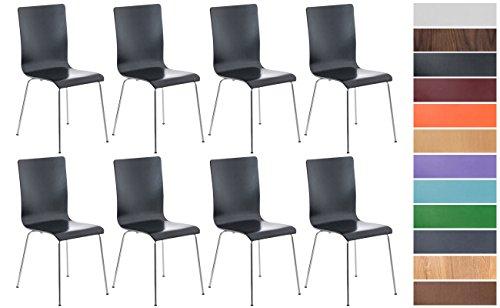 CLP 8er-Set Wartezimmerstuhl Pepe mit ergonomisch geformten Holzsitz und Metallgestell I 8X Konferenzstuhl erhältlich Schwarz