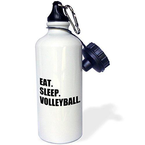 EAT SLEEP VOLLEYBALL schwarz Beach Volleyball Player Sport Fan Sport Wasser Flasche Edelstahl-Flasche für Frauen Herren Kinder 400ml