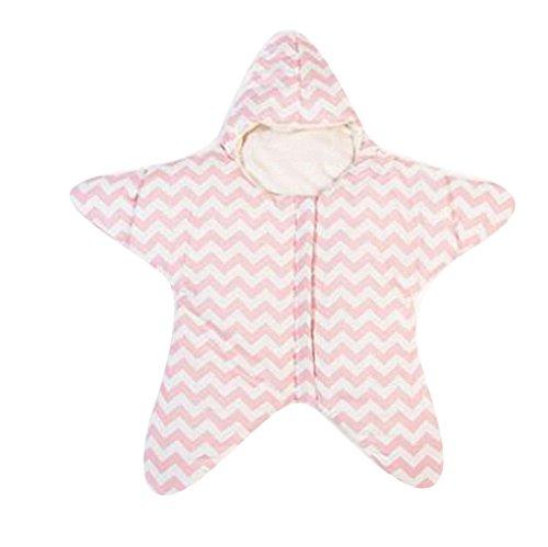 Gigoteuse bébé hiver nouveau né à pieds Coton Manches Longues -garcon -Fille pyjama enfant confort combinaison - Étoile de mer. (80*84cm, Rose)