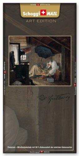 Preisvergleich Produktbild Grusskarte & Schweizer Premium Schokolade - Art Edition Spitzweg - Der arme Poet