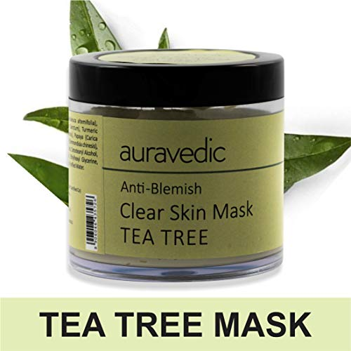 Auravedic Anti Blemish Clear Skin Mask Neem and Tea Tree,basil natural Acne Treatment 100g