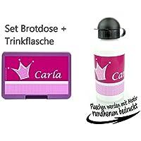 Preisvergleich für persönliche Brotdose BPA-Frei + Trinkflasche aus Aluminium 500 ml | personalisierbar mit Wunschnamen | Lunchbox Farbe auswählbar| Motiv Krone Prinzessin Mädchen