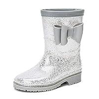 DKSUKO Kids Wellies Wellingtons Mid Calf Waterproof Rain Boots for Girls (12.5 UK Child, Silver Bow)