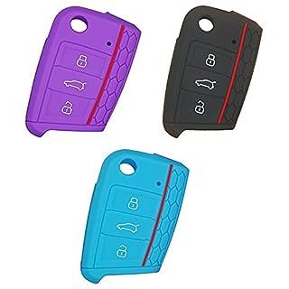 AIU Auto Schlüsselhülle Silikon Schlüsselschutz Fernbedienung Schlüsselcover Klappschlüssel 3 Tasten für VW/Golf 7 usw (3pcs)