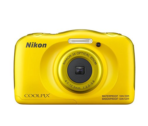 Nikon Coolpix W100 13.2 MP Point and Shoot Digital Camera (Yellow) with 3X Optical Zoom, Card and Camera Case