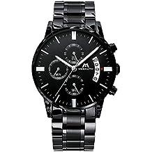 e00f2e44ed4e Relojes de Hombre Reloje Grandes de Pulsera MilitaryCronógrafo Impermeable  Negro Acero Inoxidable Reloj para Hombres Calendario